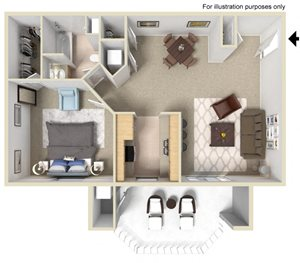 Cabernet Floor Plan - One Bed One Bath at Tuscany Ridge Apartments, CA