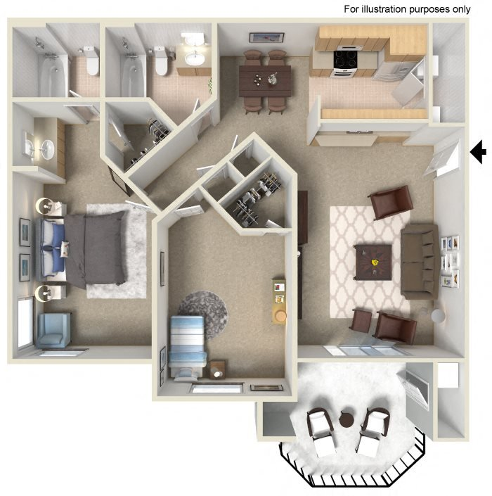 Two Bed Two Bath Floor Plan at Tuscany Ridge Apartment Homes, 41955 Margarita Road, CA