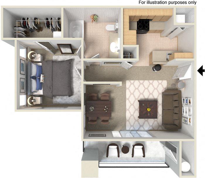Spacious 1 & 2 Bedroom Floor Plans