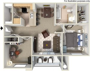 A4 Floor Plan at Waterstone Apartment Homes, Tracy, 95377