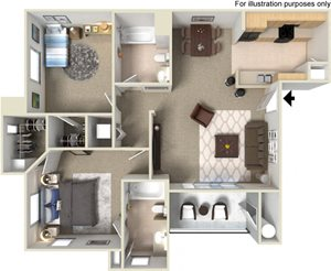 B2 Floorplan at Waterstone Apartment Homes, 95377