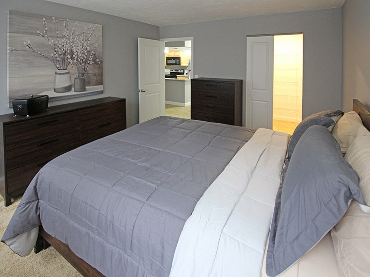 P2 Upgraded Model Bedroom with New Closet Doors and Carpet, at Reserve Square, Cleveland, OH