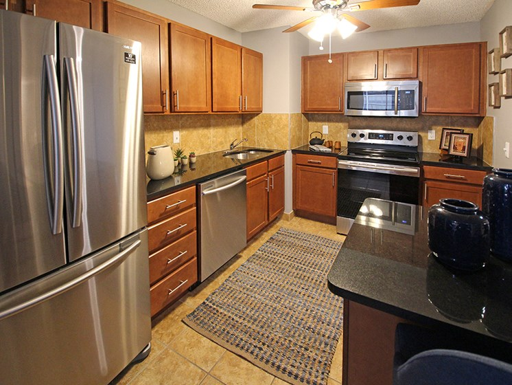 P3 Elite Model Kitchen with Granite Countertops and Deluxe Stainless Steel Appliances, at Reserve Square, Cleveland, OH