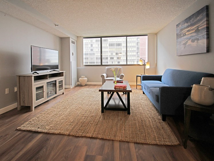 P3 Elite Model Living Room with Hard Surface Flooring, at Reserve Square, Cleveland, OH