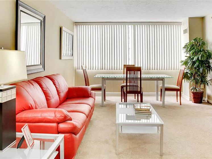 P1 Standard Model Living Room with Vertical Blinds, at Reserve Square, Ohio, 44114
