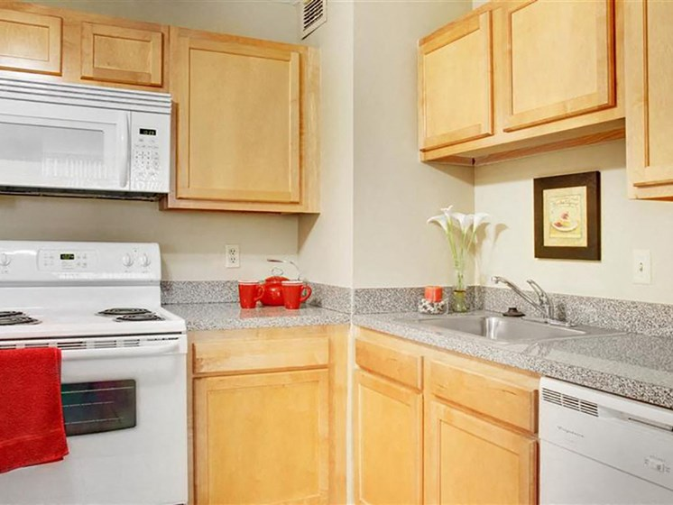 P1 Standard Model Kitchen with White Appliances, at Reserve Square, Cleveland, OH