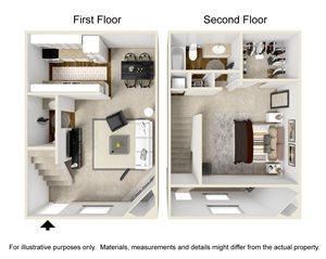 1 Bedroom D Townhome