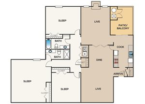 3 Bedroom | 2 Bathroom B