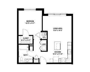 The Yards Apartments Pittsburgh One Bedroom Floor Plan