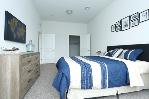 Bedroom model unit with carpeted floors