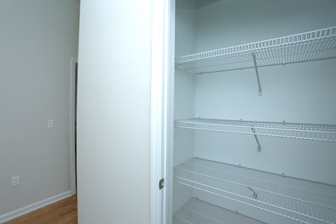 Bedroom closet with shelves