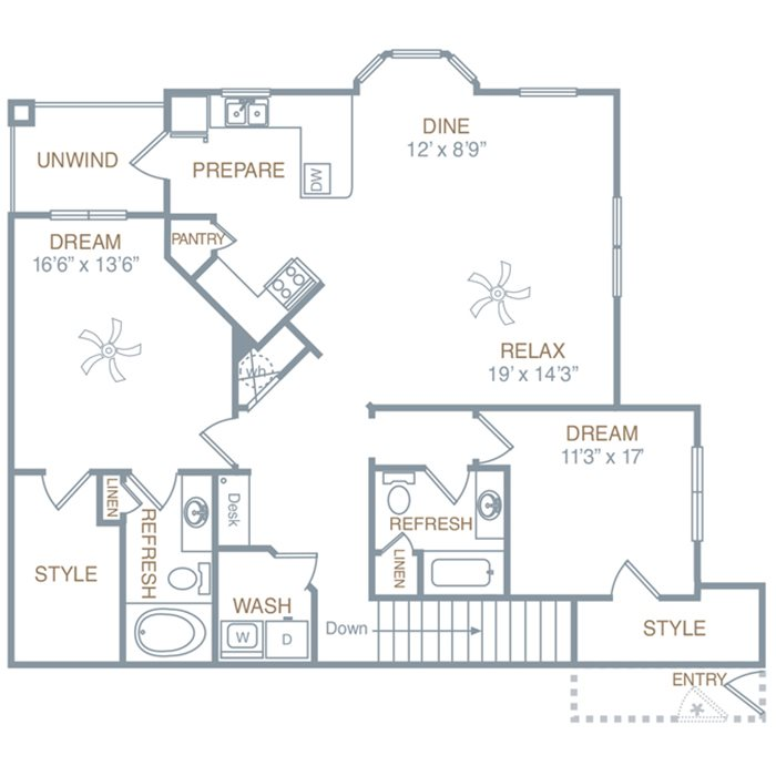 Two Bedroom Two Bath (B2UG) Floor Plan 1