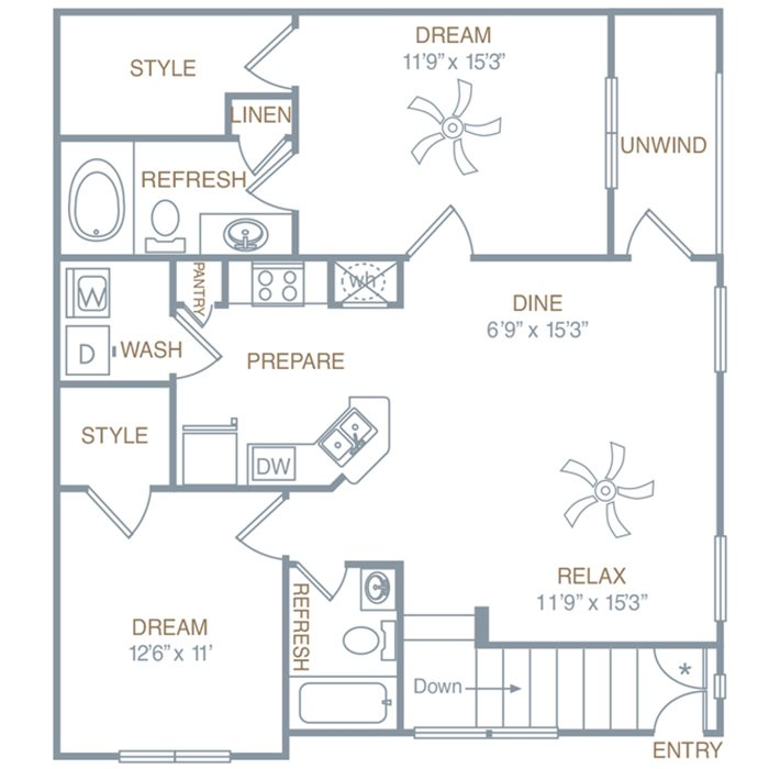 Two Bedroom Two Bath (B1UG) Floor Plan 3