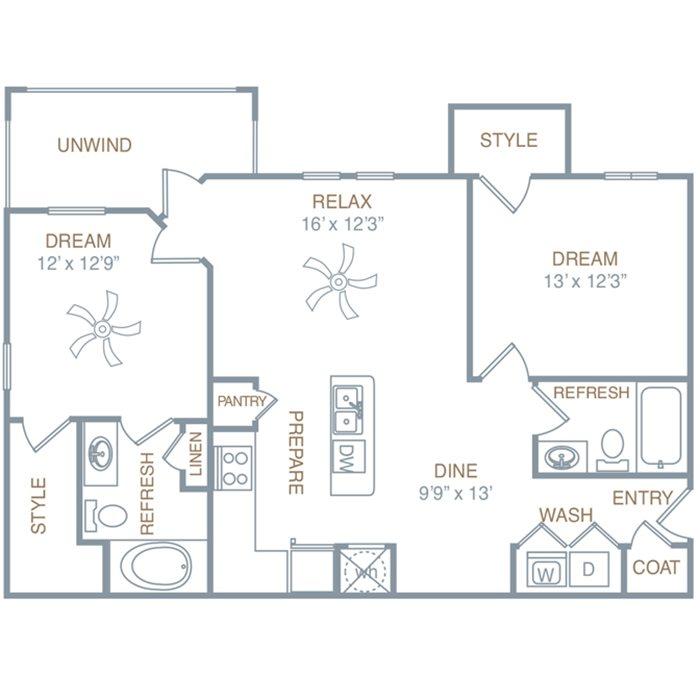 Two Bedroom Two Bath (B4) Floor Plan 4