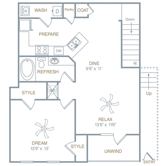 One Bedroom One Bath (A2UG) Floor Plan 5