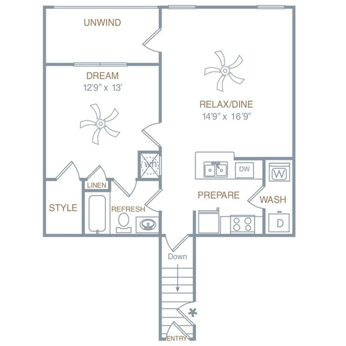 One Bedroom One Bath (A1UG) Floor Plan 6