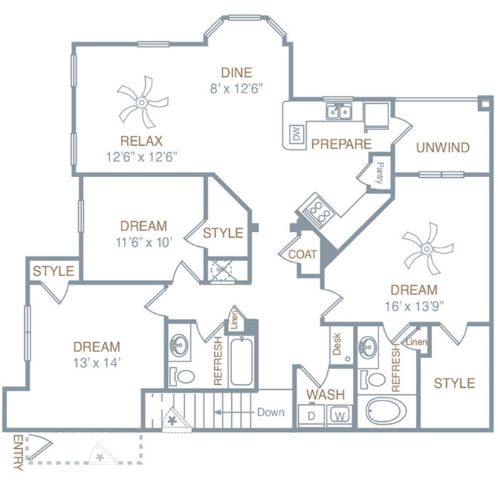 Three Bedroom Two Bath (C1UG) Floor Plan 8