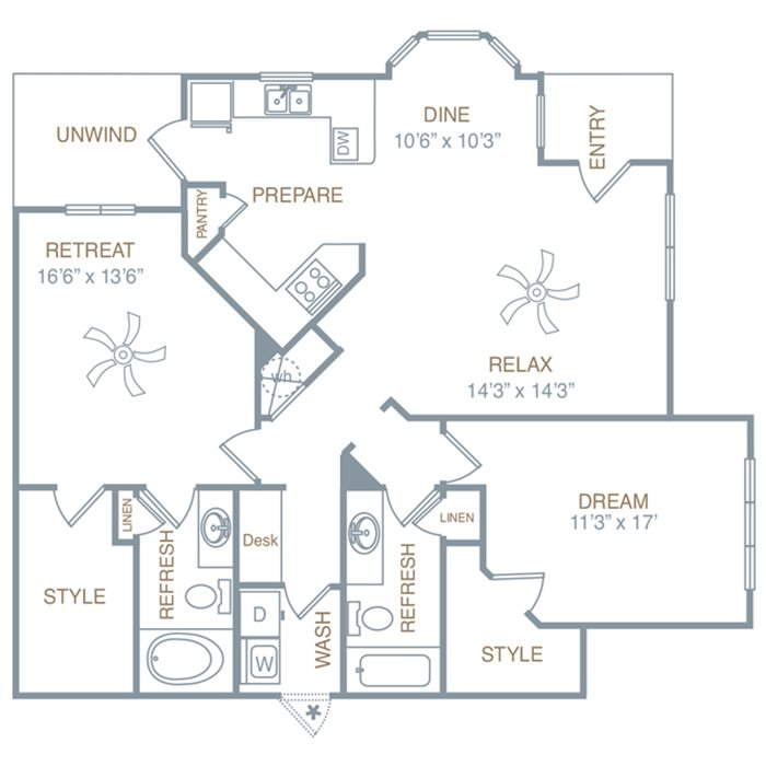 Two Bedroom Two Bath (B2LG) Floor Plan 10
