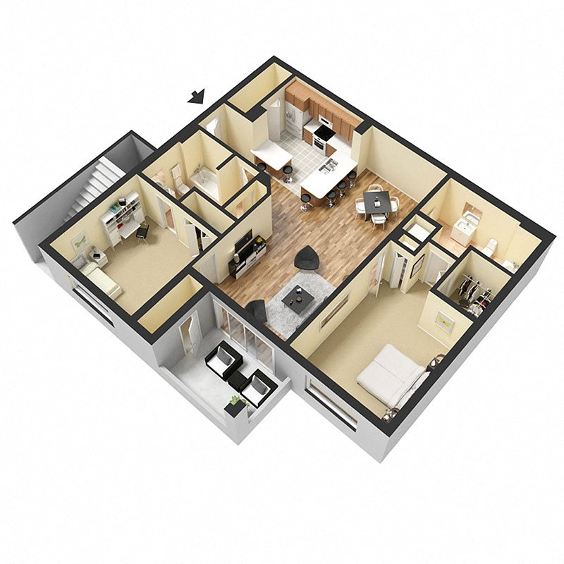 2 Bed 2 Bath Floor Plan 4