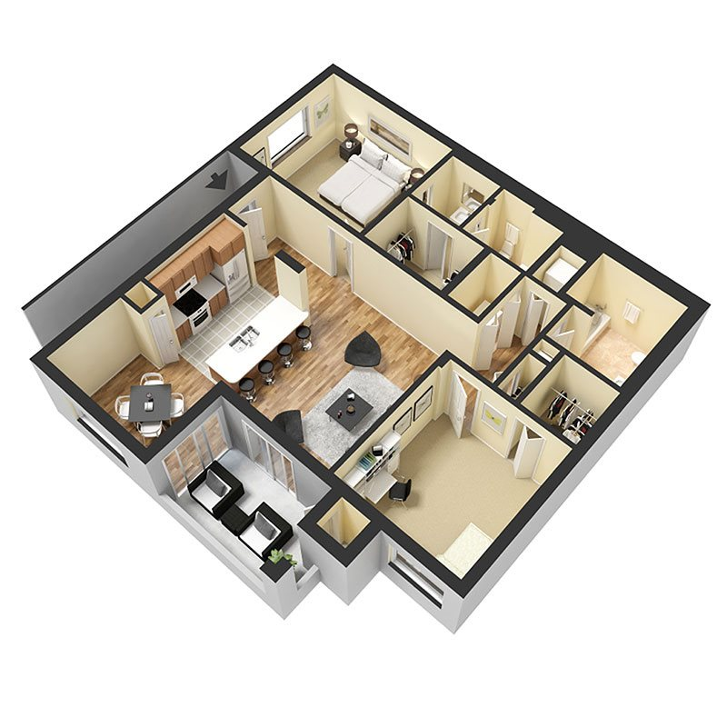 2 Bed 2 Bath A Floor Plan 5
