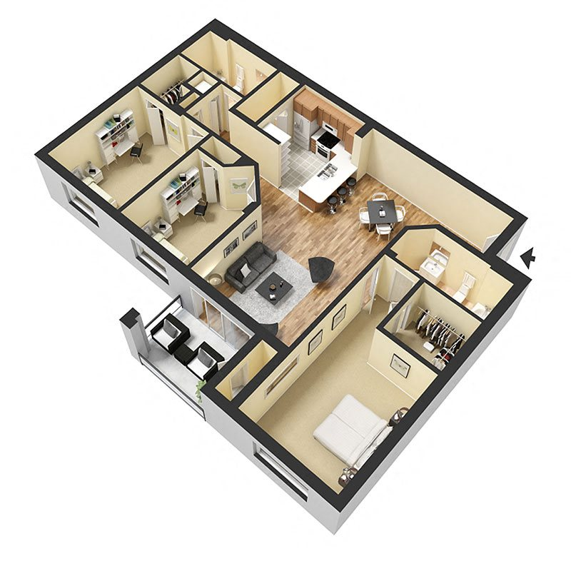 2 Bed 2 Bath B Floor Plan 6