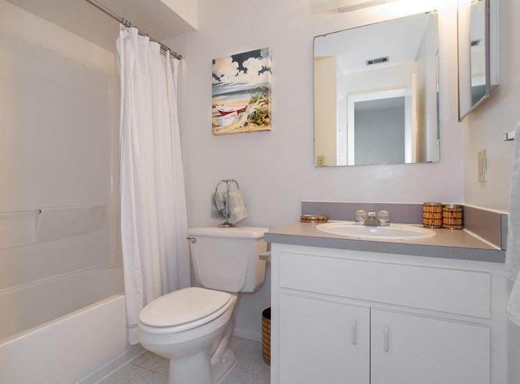Full bathroom with sink, toilet and tub/shower
