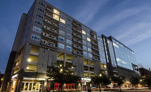 Exterior of Arena Place Apartments in Downtown Grand Rapids