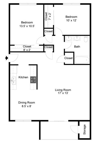 Charleston Floorplan at Commons at Timber Creek Apartments