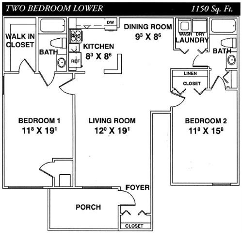 Two Bedroom Lower Floor Plan 2