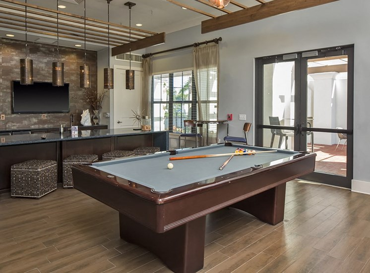 2940 Solano at Monterra apartments social lounge with billiards in Cooper City, Florida