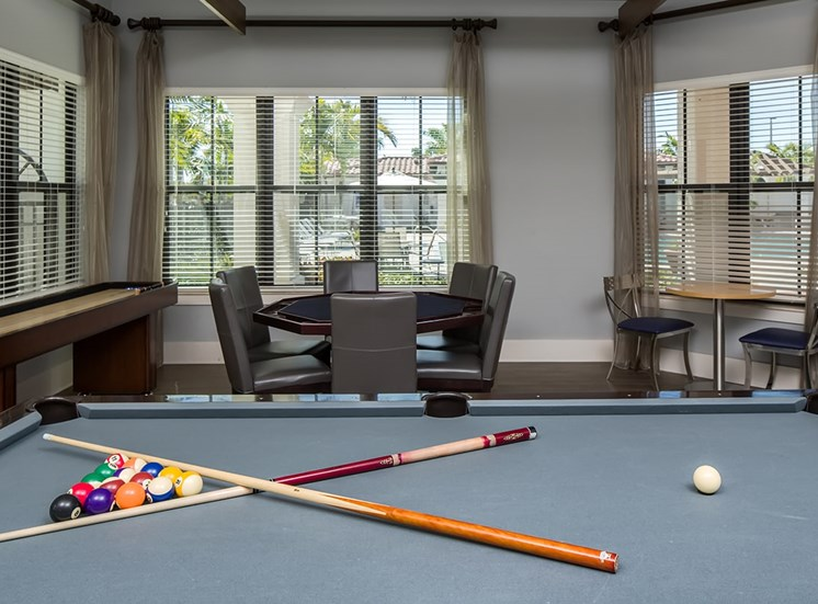 2940 Solano at Monterra apartments social lounge with games in Cooper City, Florida