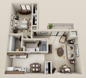 1 bdrm. 3rd floor