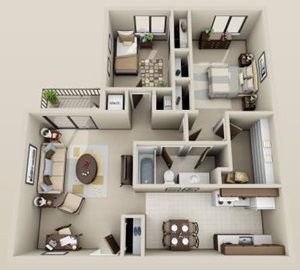 2 bdrm. 3rd floor