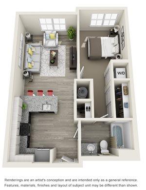 1 Bedroom, 1 Bath 673 sqft