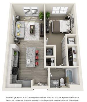 1 Bedroom, 1 Bath 684 sqft