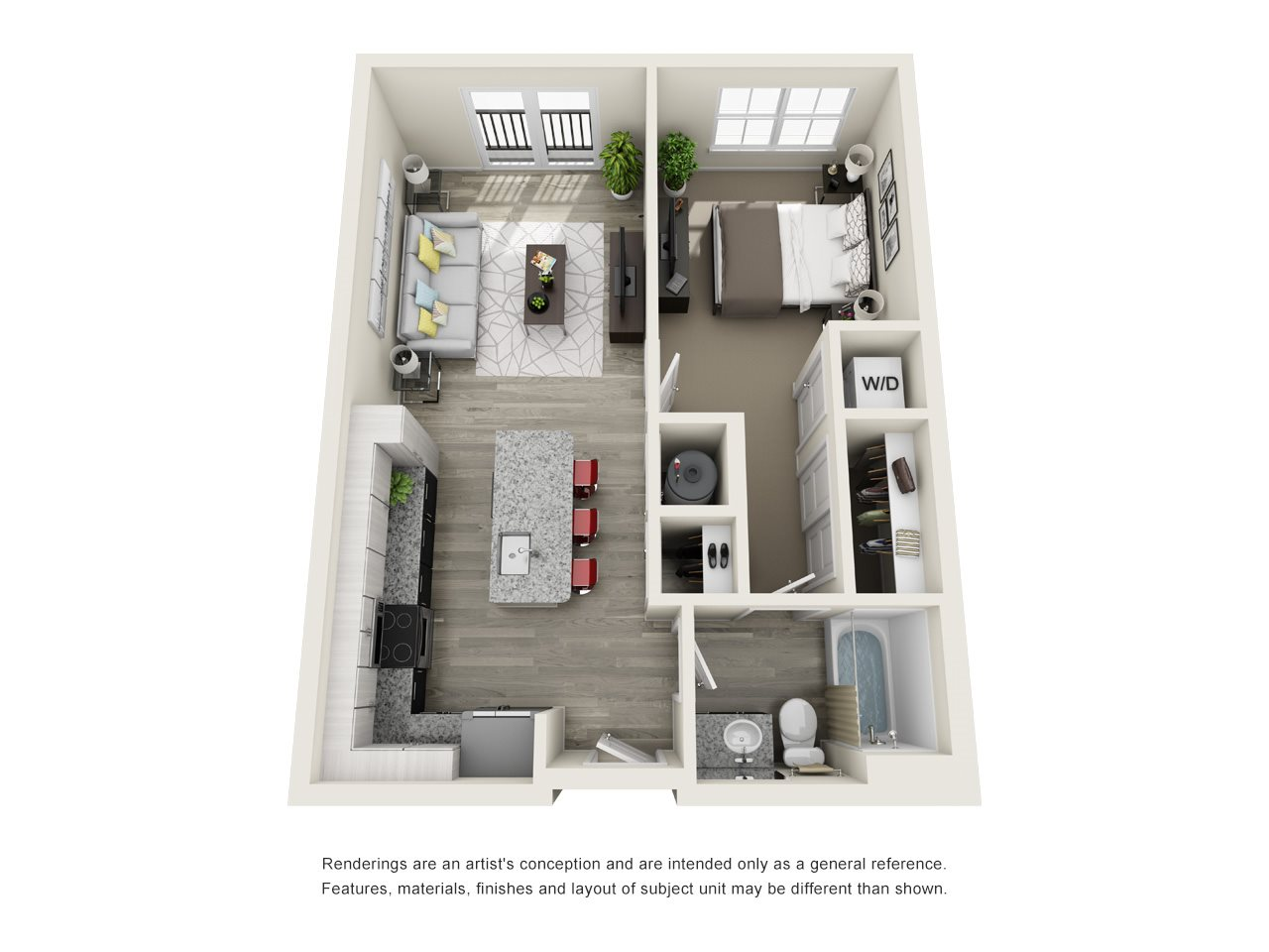1 Bedroom, 1 Bath 684 sqft Floor Plan 3