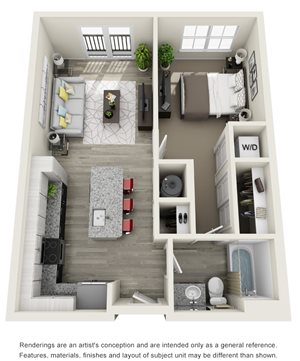 1 Bedroom, 1 Bath 692 sqft