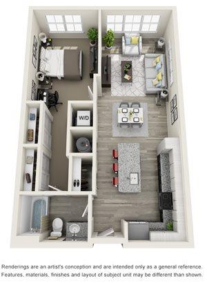 1 Bedroom, 1 Bath 846 sqft Hc