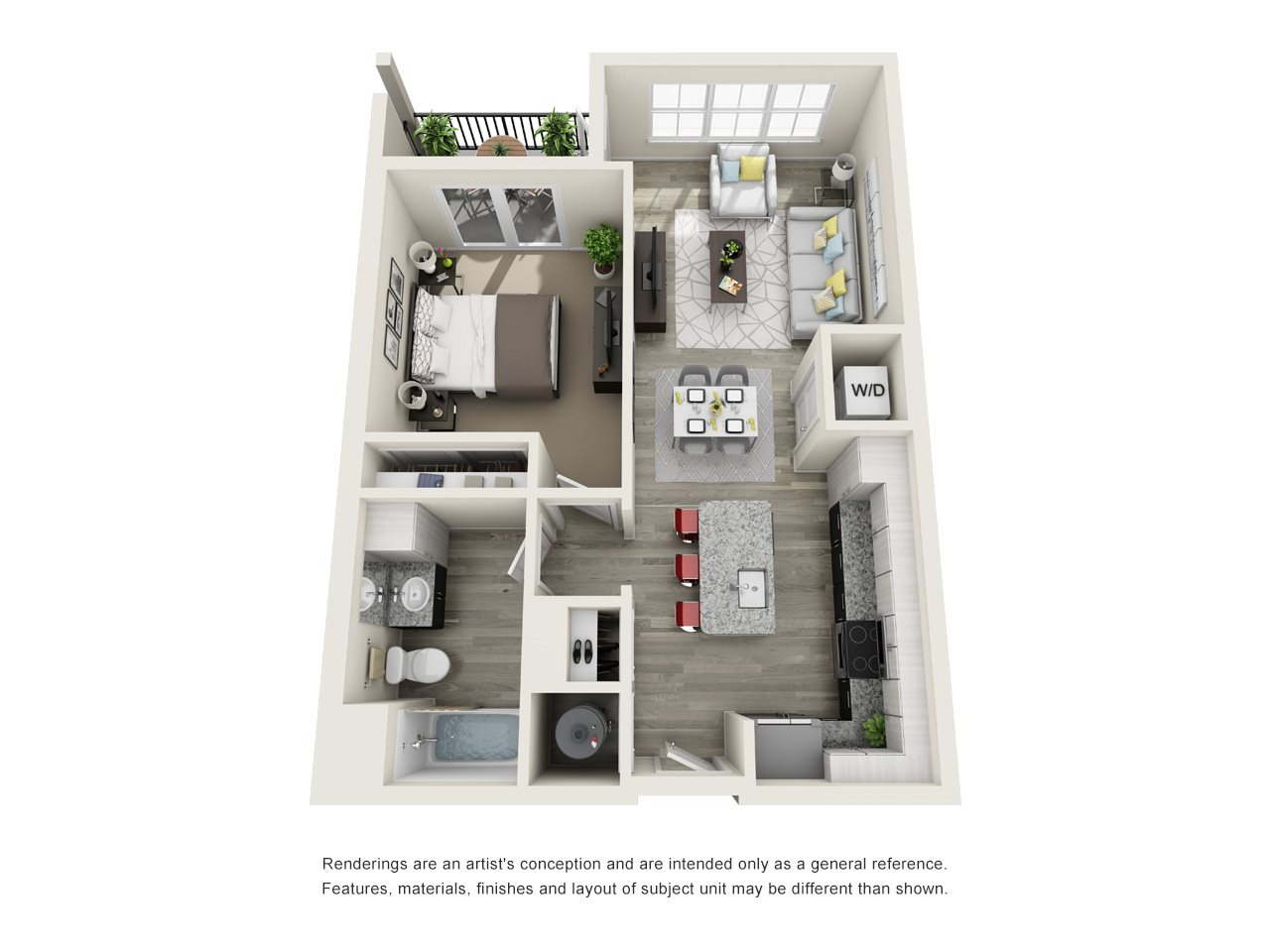 1 Bedroom, 1 Bath 736 sqft Floor Plan 7