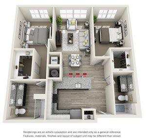 2 Bedroom, 2 Bath 1074 sqft