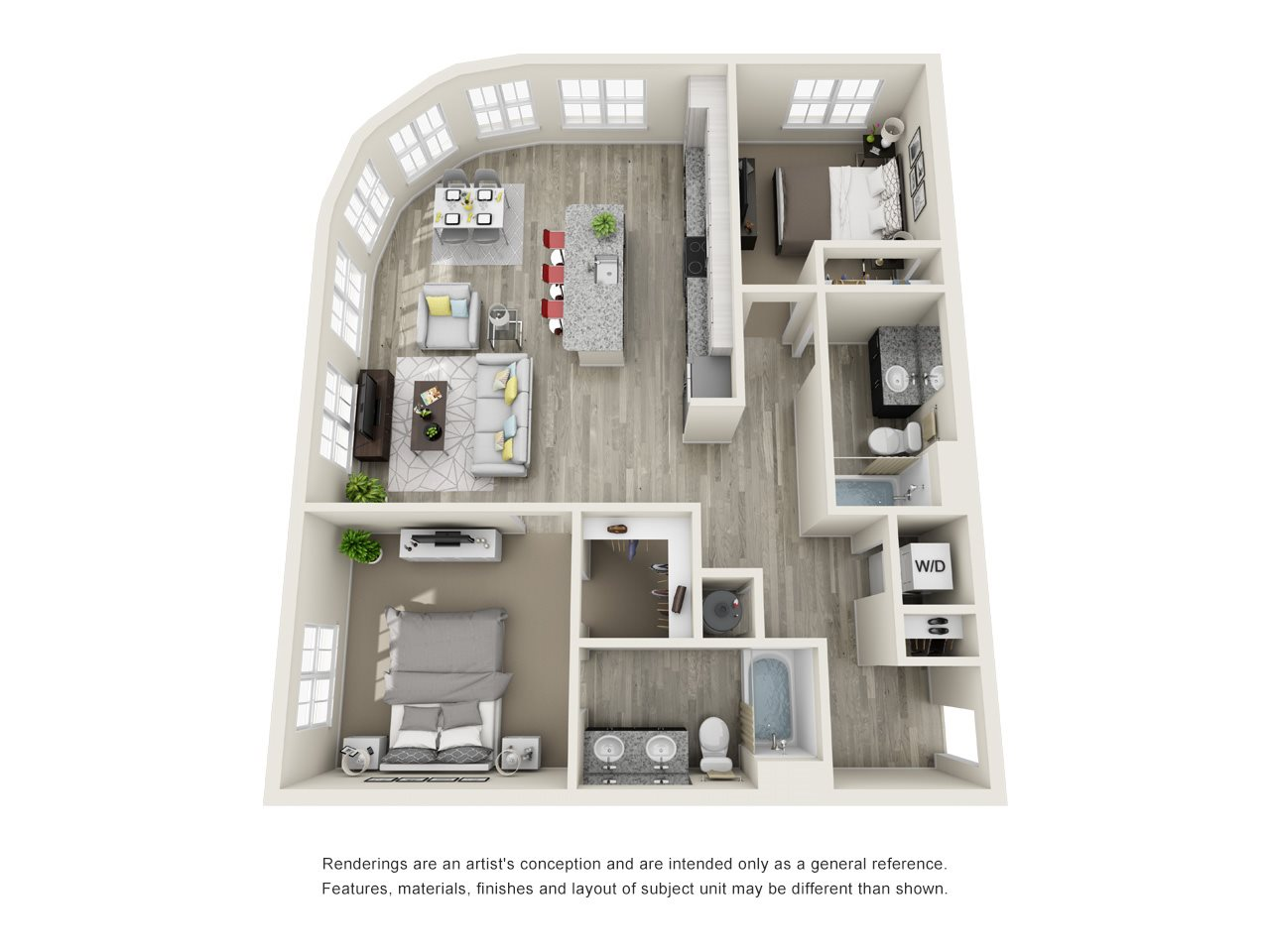 2 Bedroom, 2 Bath 1171 sqft Floor Plan 15
