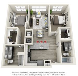 2 Bedroom, 2 Bath 1074 sqft Hc