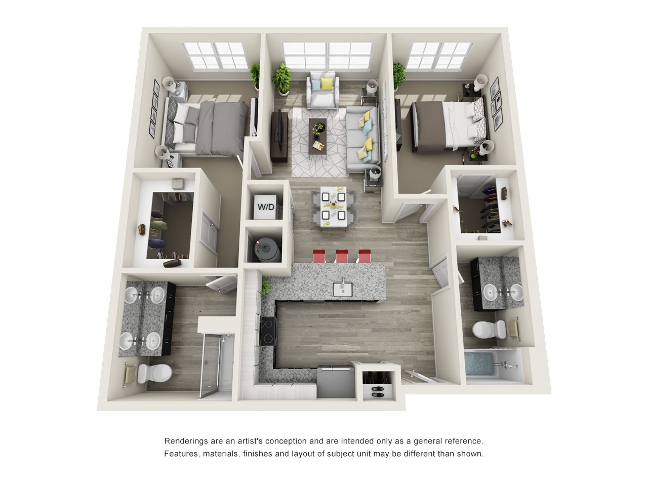 2 Bedroom, 2 Bath 1074 sqft Hc Floor Plan 14