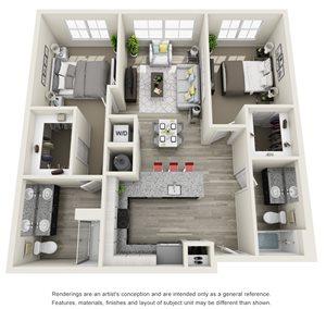 2 Bedroom, 2 Bath 1014 sqft