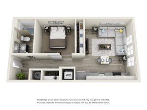 1 Bedroom, 1 Bath 620 sqft
