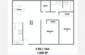 2 Bedroom 1 Bath Floor Plan at The Marquee, NoHo, California