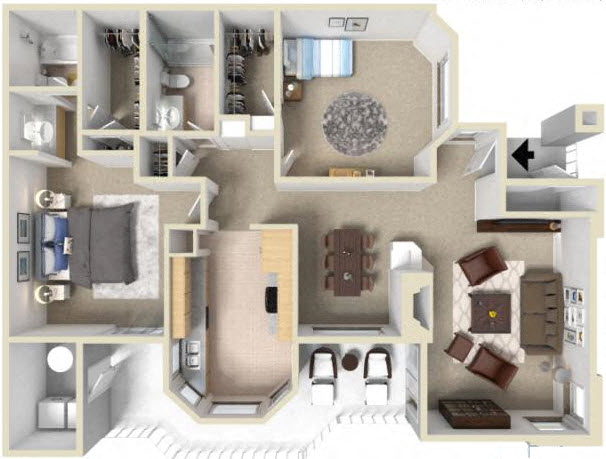 Genial 2 Bedroom Floor Plan At La Serena Apartments In Rancho Bernardo, 92128
