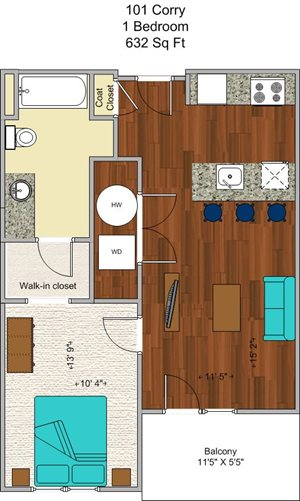 1 Bedroom (Juliet Balcony)