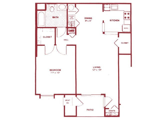 1 Bedroom Lower Floor Plan 1