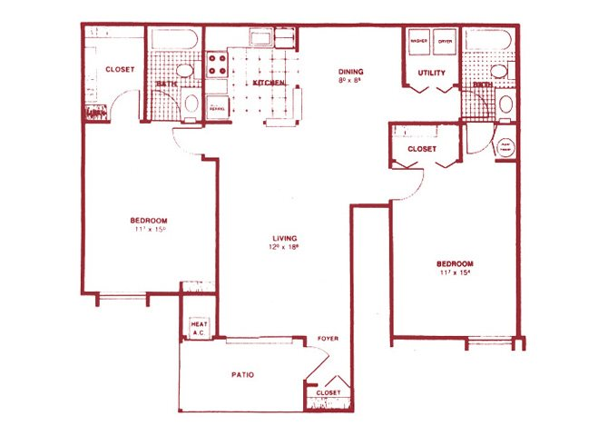 2 Bedroom Lower Floor Plan 3